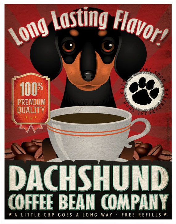 Dachshund Coffee Bean Company Original Art Print - Custom Dog Breed Print -11x14- Personalize with Your Dog's Name - Father's Day Idea