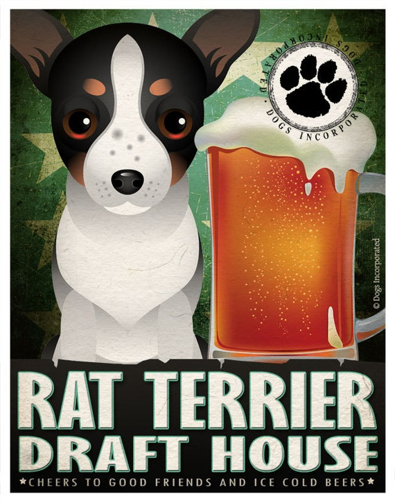 Rat Terrier Drinking Dogs Original Art Poster Print - Personalized Dog Wall Art -11x14- Customize with Your Dog's Name - Dogs Incorporated