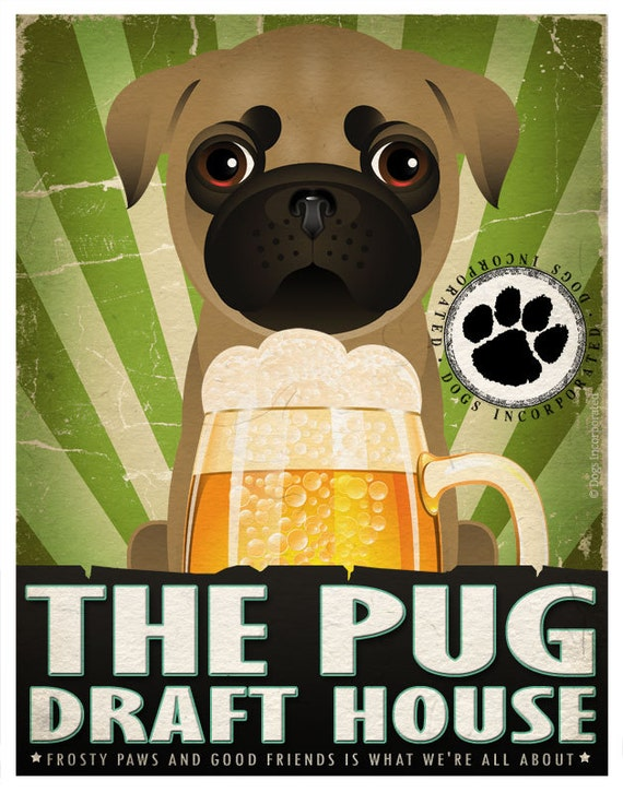 Pug Drinking Dogs Original Art Poster Print - Personalized Dog Wall Art -11x14- Customize with Your Dog's Name - Dogs Incorporated