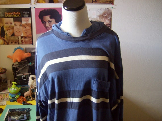 Vtg 90s GAP striped hoodie oversized slouchy fit grunge stripes blue sweatshirt pullover