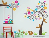 Nursery Wall Decal - Birds, Owls, Squirrels - Swirly Tree Wall Decal - Cute Wall Decals - Kids Wall Decals - Childrens Wall Decals - WallDecalSource