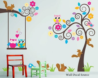 Nursery Wall Decal   Birds, Owls, Squirrels   Swirly Tree Wall Decal   Cute Part 36