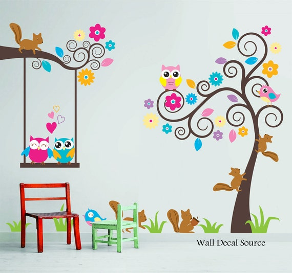 Nursery wall decal birds owls squirrels swirly tree wall for Bird and owl tree wall mural set