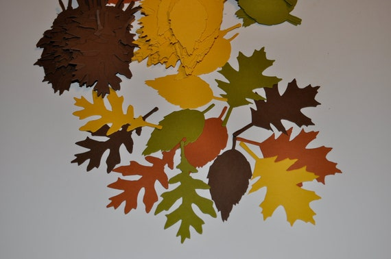 192 pcs Tattered Leaves in 4 Fall Colors,3 Shapes, Oak Leaves. Rose, NO. 61