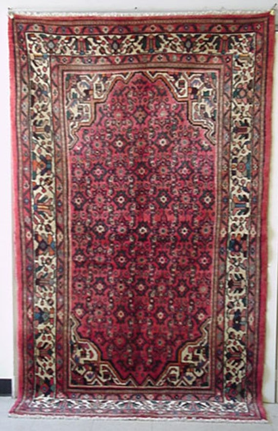 1960s Hand-Knotted Hamadan Persian Rug
