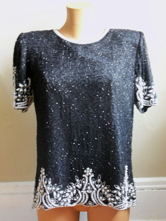 Laurence Kazar Short-Sleeve, Black Sequin and Beaded Shirt