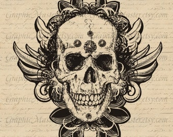 Sugar Skull Steampunk Day of the Dead Tattoo Print Clip Art Instant Download Image Digital Collage Fabric Transfer Clothing Tote Bags a225