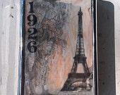 Vintage Eiffel Tower Retro 1920's Paris Metal Wallet Vintage France Cigarette Case ID Holder Accessory