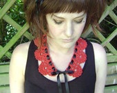 Crochet cotton lacy vintage look collar (ruby)