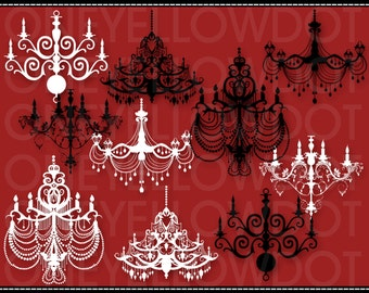 INSTANT DOWNLOAD - Pretty Chandeliers Digital Clipart 518 - PNG - Personal and Commercial Use - No Credit Required