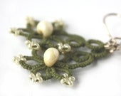 Tatted lace earrings, light olive green tatting, sterling silver ear wires