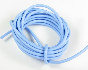 Rubber cord 5mm hollow tubing, light sky blue, 6 feet