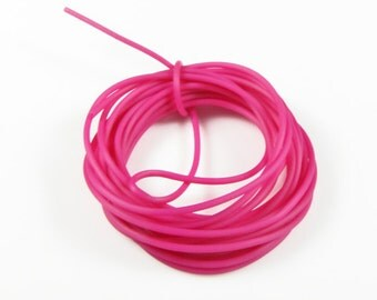 Rubber cord 2mm hollow tubing,  Fuchsia color, 10 feet