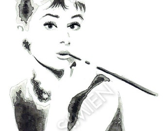 "Audrey Hepburn watercolor painting- Breakfast at Tiffany's- celebrity artwork- 8"" x 10"" art print- FREE SHIPPING"