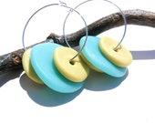 Polymer Clay earrings - Silver sea blue and green beaded hoop earrings