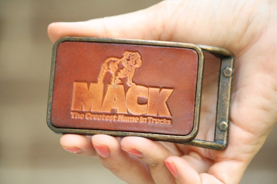Old Stock New Vintage Mack Truck Bull Dog Brown Leather BrassMen's Belt Buckle