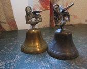 Antique Pair of Brass Lion-Griffin Bells