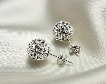 Pair 8mm & 10mm Crystal stones Bead Pave Disco Ball Rhinestone Beads With 925 Silver Earrings Studs / white