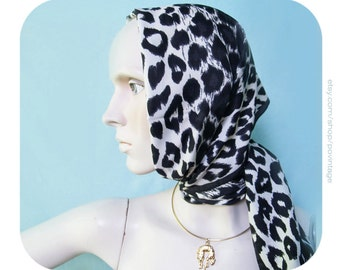 Vintage panther scarf, black and white panther pattern scarf