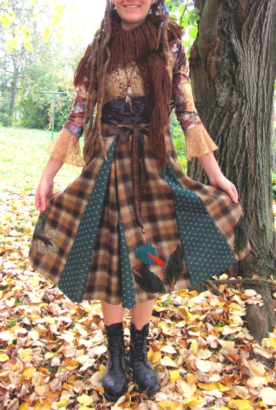 Winter gypsy skirt vintage retro clothing green brown skirt