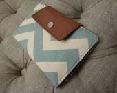 Sleek women's dusty village blue chevron fabric wallet / clutch / pocketbook