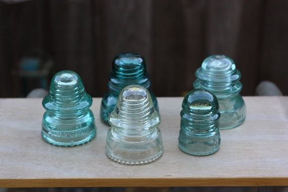 Assorted Vintage Glass Insulators - Set of 5 - Instant Collection