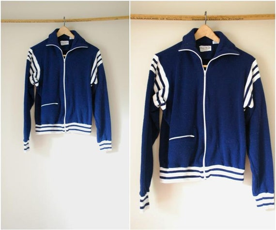 70s Men's Navy & White Striped Cotton Track Jacket
