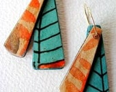Tigerprint with teal patterned background lightweight earrings