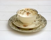 Vintage 1930s Tea Cup and Saucer Trio Set Honey Orange Flowers 50 Year Anniversary of Manufacturer