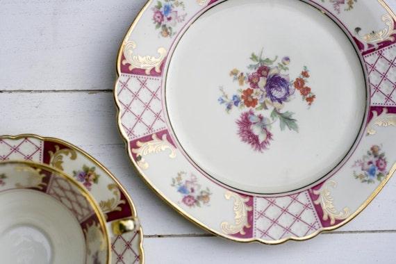 Vintage 1930s Tea Cup and Saucer Trio Set Pink Lattice Floral