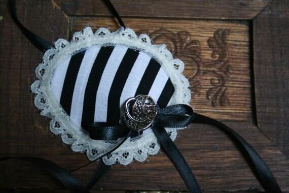 B&W Stripes Eyepatch w/ Silver Accent