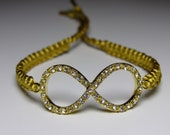 Infinity Bracelet with rhinestones and antique gold cord