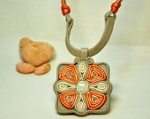 Leather cross necklace - cat eye gemstone