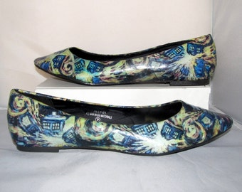 Van Gogh Starry Night Exploding Tardis Dr Who Flats - Made to Order