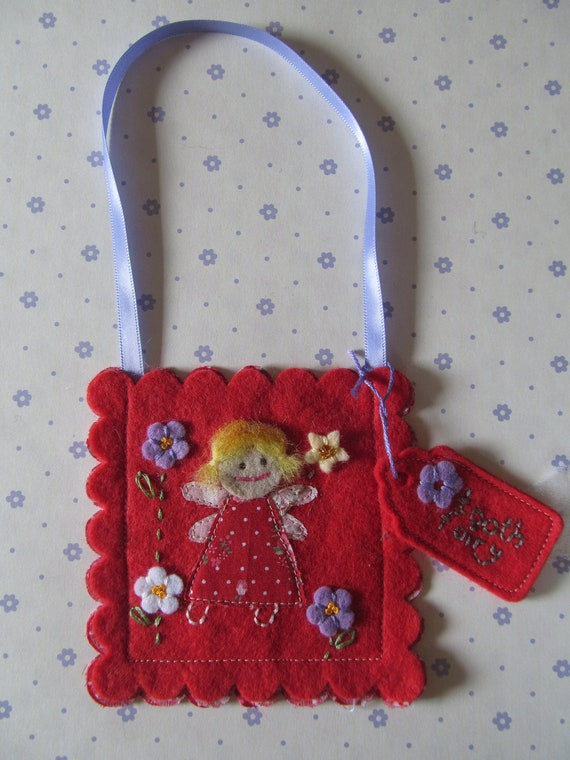 Tooth Fairy Bag, Hand made in red felts and fabrics.