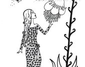 Girl in the fantasy world  2, Fantasy, PDF Download, Flowers, Butterfly, Printable Coloring Page, 018