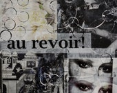 Au Revoir-OOAK French Vintage Look Mixed Media Black and White Abtract Original Collage 12 x 12
