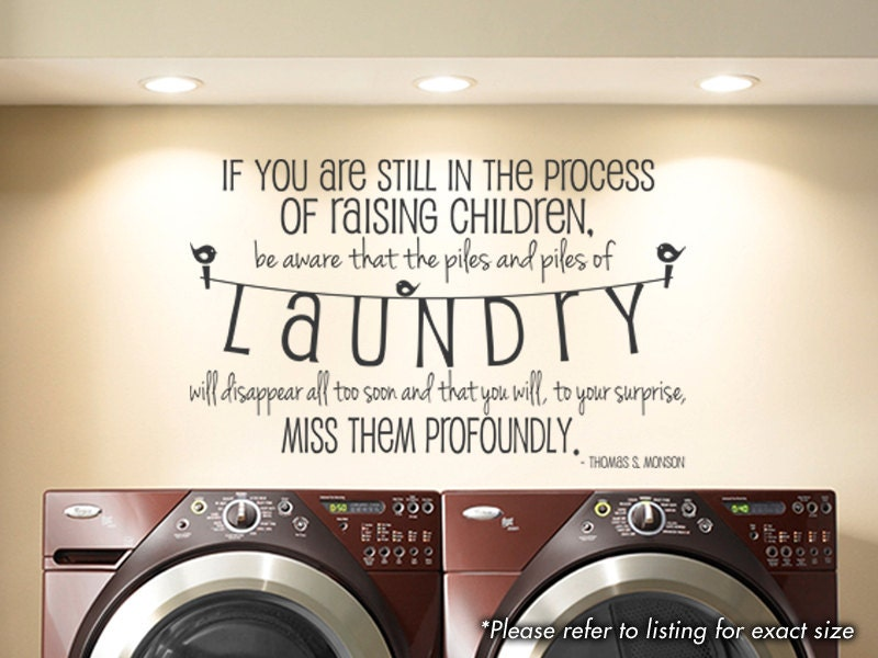 Laundry Room Raising Children Wall Art Vinyl by GSGVinylDesigns