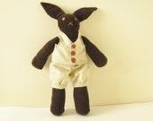 Bunny Doll - Handmade Doll- Brown Bunny Rabbit - OOAK- Neutral Colored Plush
