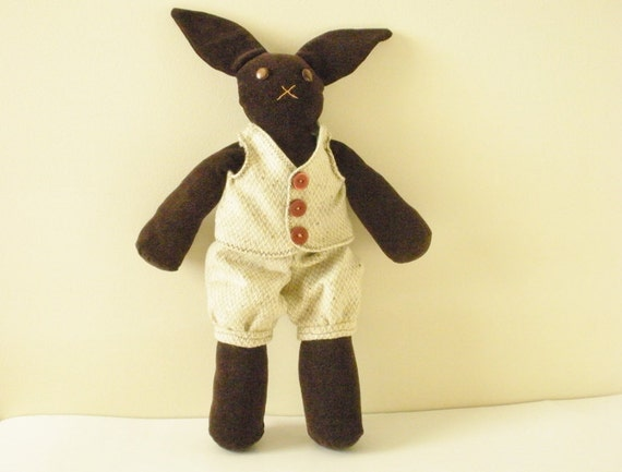 Bunny Doll - Handmade Doll- Brown Bunny Rabbit - OOAK- Neutral Colored Plush