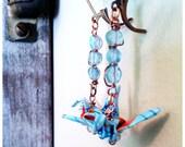 Origami Crane earrings with semi precious stone beads and turquoise Koi Japanese Yuzen Washi handmade paper