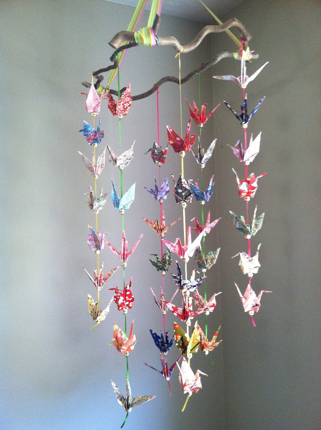 One of a Kind Origami Crane Mobile for Baby - photo#4