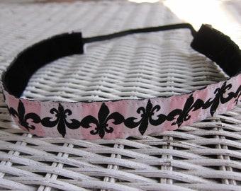 Pink Fleur de lis Headband - Women's Fashion Headband
