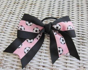Pink Soccer Hair Bow- Girls Soccer Ponytail