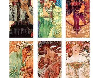Mucha Digital Collage Sheet -1x2 inch - Domino Collage Sheet - Instant Download