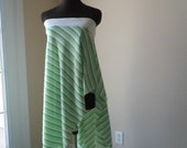 Boho Striped Green Strapless Pixie Dress Skirt Lemon Lime White Tattered Weekend Fashion Retro Plus XL 2X 3X  Size 16 to 24