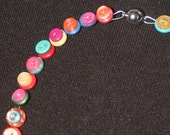 Multi Coloured Plastic Button Necklace