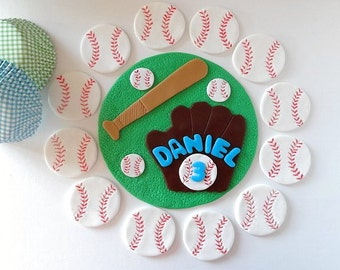 Party package-1 fondant cake topper and 12 cupcake toppers-sport event-basketball,baseball,football,soccerball,tennisball,all stars, golf