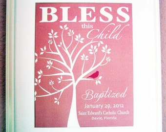 Christening Gift Baptism Gift Baby Girl Personalized Print Wall Art- Available in other colors