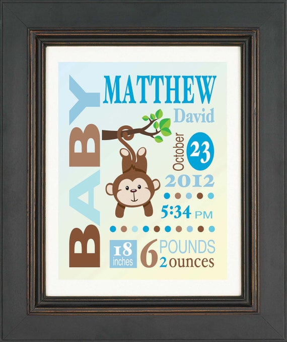Birth Announcement Personalized Baby Boy Custom Monkey Print  Wall Art Sign in blue and brown
